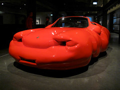 Fat Car, Erwin Wurm (russelljsmith) Tags: travel red vacation holiday art museum underground artwork gallery artgallery contemporaryart modernart australia mona tasmania hobart artmuseum subterranean porche erwinwurm 2011 berriedale moorilla fatcar nondakatsalidis 77285mm museumofoldandnewart moorillawinery