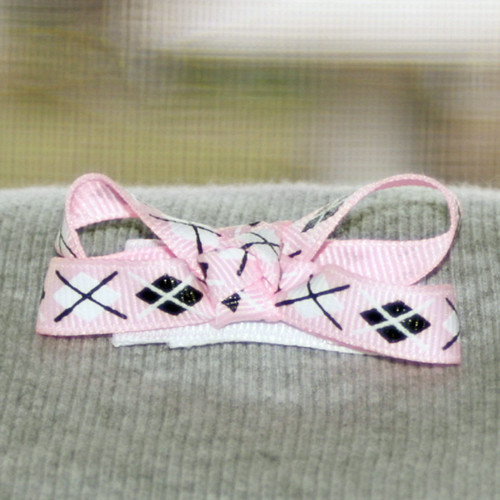 "2"" Bow on snap, ribbon covered hair clip by Ladybugs & Bullfrogs"