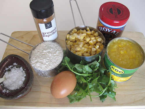 Ingredients for the corn blinis