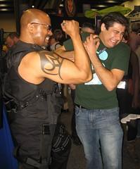 """If you can't break 'em, Stake 'em!"" (MorpheusBlade) Tags: tattoo costume cosplay superhero guns swords comiccon comicon actionhero daywalker stickyfingaz bladetheseries bladehouseofchthon marvelsuperhero wondercon2011"