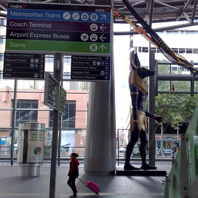 Anubis going to catch a train