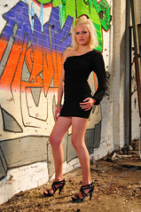 Derelict Warehouse Shoot (JRT ) Tags: tree brick grass wall graffiti high model nikon shoot highheels bricks dudley colourful derelict blackdress derelictbuildings dudleywood jenniferdunn d300s anchorhill johnwarwood pinkstar2 flickrjrt missblackcountry