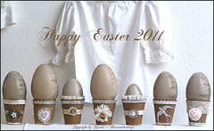 Having fun with peat pots (Boxwoodcottage) Tags: brown white colors silver easter happy decoration eggs april ostern embellished neutral 2011 papermach frhliche ostereier peatpots boxwoodcottage