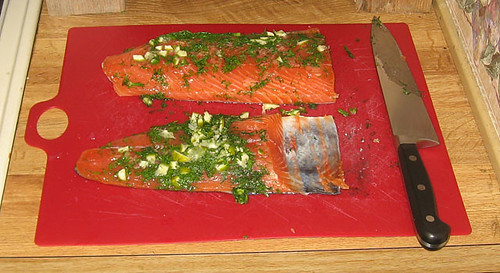 Gravlax, unwrapped after curing