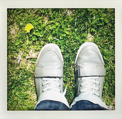 Dandelion (kitschcafe) Tags: green grass yellow spring shoes gray dandelion jeans lookingdown iphon