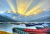 Rays over lake (Clearvisions) Tags: nepal sunset sky lake water reflections boats prime hall fame lakeside andromeda pokhara natures annapurnamountains {addyourkeywordsseparatedbysemicolons} gearandmediamond tplringexcellence 50awards