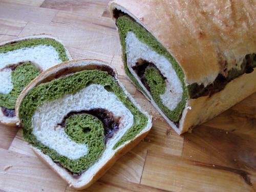 Matcha and Azuki Swirl Bread