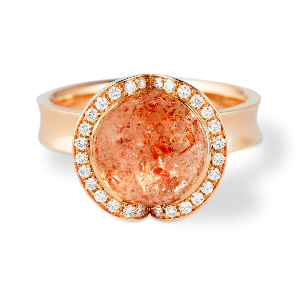 Celestial Fire 18ct Rose Gold Sunstone Cocktail Ring