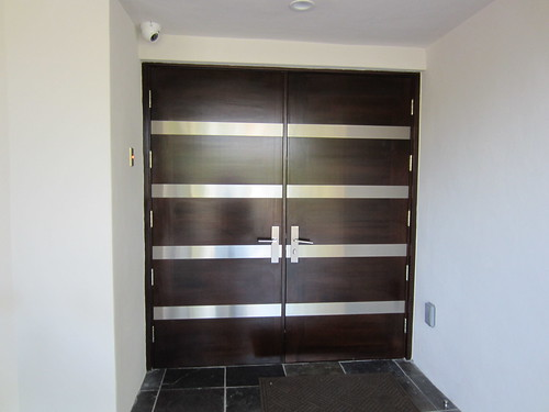 Contemporary Exterior Wood Double Doors