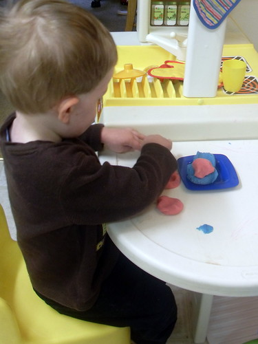 Making Playdough - having fun playing