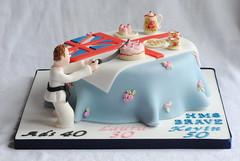 Tea for 3! Triple Birthday Cake (thecustomcakeshop) Tags: birthday party cake 30 tea martial flag arts karate birthdaycake figure brave 40 50 teaparty ensign hms cathkidston hmsbrave
