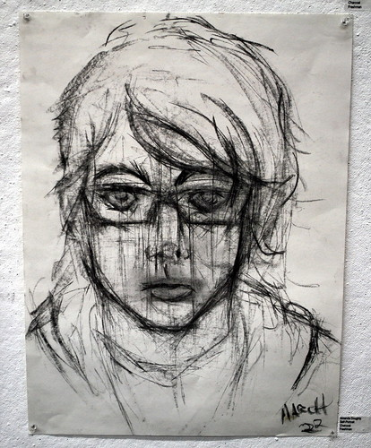 Self Portrait in Charcoal by Amanda