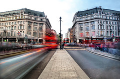Daytime long exposure at Oxford Circus in fisheye (Anatoleya) Tags: street london st pen long exposure day time circus olympus fisheye oxford daytime exposures nd8 nd4 epl1