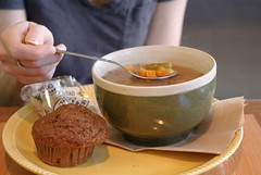 veggie soup and muffin