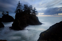 Oregon Coast (Helminadia Ranford) Tags: trees sunset seascape oregon coast rocks cloudy