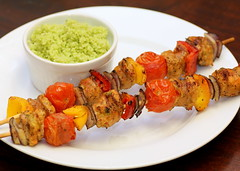Sausage and Pepper Skewers (Food Snots) Tags: food dinner recipe pepper tomatoes sausage barbecue recipes couscous skewers redpeppers redonions yellowpeppers foodblog chickensausage pestosauce entrees recipeblog