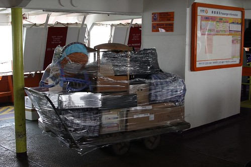 Trolley of freight on the passenger ferry to Cheung Chau