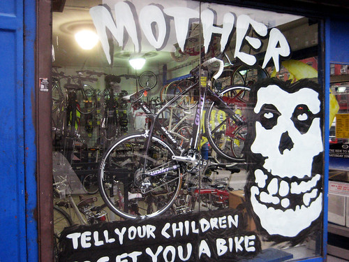 Misfits Skull Logo On Display In The Window Of A Bike Shop 7283