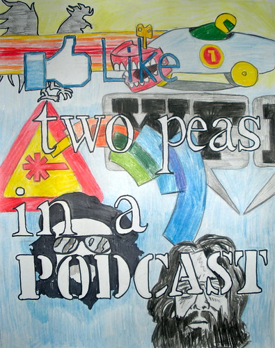 Two Peas in a Podcast. 2011. Marker and ink on paper. 11