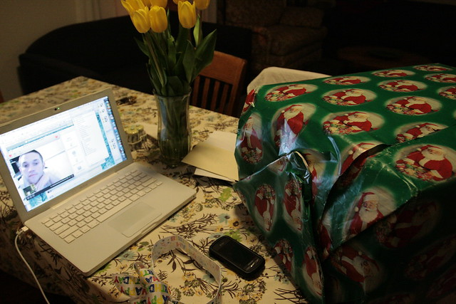 opening presents via skype