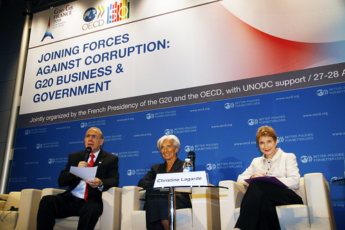 (Left/right) Angel Gurría, Secretary-General of the OECD; Christine Lagarde, French Minister of Finance and Laurence Parisot, Head of the MEDEF