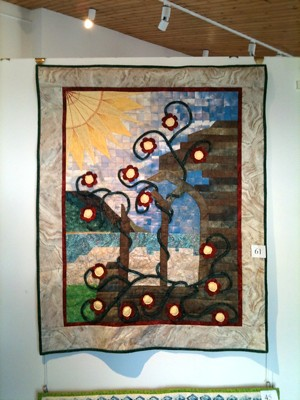 Root & Branch quilt hanging in IPS Eastern Branch exhibition, Dalkey Heritage Centre, April 2011