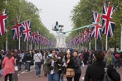 Crowds in the Mall for the Royal Wedding (Downtime_1882) Tags: camera wedding england people london crane police flags canoneos20d depthoffield celebration buckinghampalace unionjack unionflag canoneos crowds princewilliam eos20d themall royalwedding canonef24105mmf4lisusm katemiddleton 29042011 april29th2011 20110429 29thapril2011 dukeandduchessofcambridge