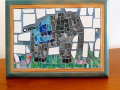 There is an elephant in the.....garden (WinterCreek Mosaics) Tags: blue elephant grass garden ceramic mosaic smalti milliefiori
