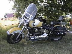 Harley-Davidson Heritage Softail with helmet (JPC24M) Tags: camping shadow usa nature leather bike relax fun vacances holidays ride helmet ombre motorbike promenade moto motorcycle biker hd custom vtwin loisirs phare touring champ foin rayons paille rivet balade sacoche casque cuir sissybar motocyclette rtro courroie 45 livetoride ridetolive bicylindre marchepied epsonphotopc600 bicylinder culbut protgecylindres