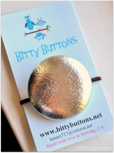 Shiny Silver large button ponytail holder