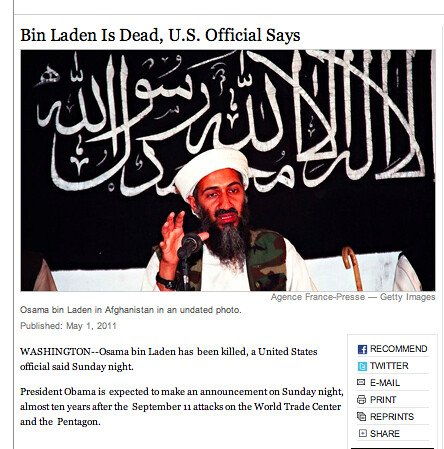 This may be the shortest story to ever lead nytimes.com. ~40 words on bin Laden's death