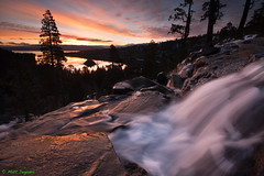 Dawn at Eagle Falls (Emerald Bay, Lake Tahoe) (MattyD90) Tags: california morning trees light sun snow motion color ice water clouds sunrise reflections flow dawn waterfall spring movement nikon rocks laketahoe pack lee april sierras predawn emeraldbay goodfriday meltingsnow eaglefalls fannieisland