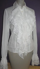 White Cotton Lace Ruffled Jabot Blouse Full Length Front Right (mondas66) Tags: ruffles lace victorian ascot blouse cotton poet romantic elegant ornate lacy dainty prim frilly elegance jabot ruffle demure blouses frills frill ruffled flouncy flounce lacework frilled flounces frilling frillings befrilled
