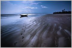 Footprints from your past (Sopnochora) Tags: light shadow sky beach lost hope boat sand pattern walk memories dream shapes footprints bluesky line footsteps bangladesh emptiness sandbeach remembrancer kuakata birderline skypattern mdhuzzatulmursalin sopnochora