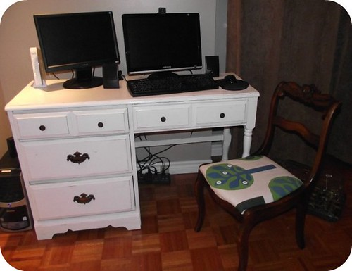 distressed painted desk plus recovered chair cushion
