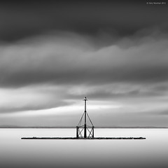 R e m a i n (Gary Newman) Tags: uk longexposure sea bw square pier somerset minimal marker base minehead nd110