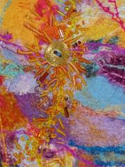 TrialBackgrounddtl (DebraSue2) Tags: pink orange yellow hand purple magenta dry textile bead needlefelting stitched embroidered beaded needlefelted