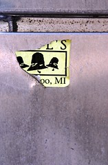 Bell's (AndyM.) Tags: ohio beer yellow metal bells canon sticker decay wooster xsi 28105 28105mm