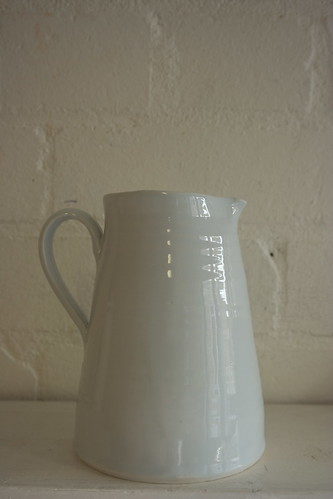 Blue porcelain milk jug by potteryrachel