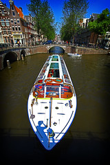Here come the tourists - Amsterdam channel cruise (kees straver (will be back online soon friends)) Tags: street city bridge light shadow red white holland reflection tree window water netherlands girl amsterdam bike bicycle architecture clouds canon eos graffiti boat canal europe speedboat district nederland bluesky hdr keizersgracht leidsegracht channelhouse keesstraver 5dmarkii blinkagain bestofblinkwinners touriststip