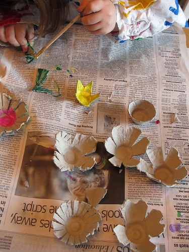 Blank egg carton flowers