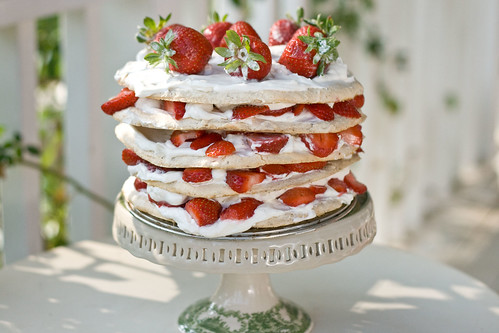 Swedish Midsummer Strawberry Meringue Layer Cake