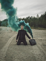 Burnout (Reindb) Tags: smoke color grenade burnout work formal business stress modeling man composition photography sophisticated suitcase sand hopeless crash
