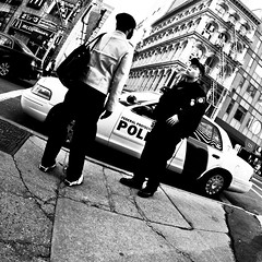 (shaymurphy) Tags: new york old city nyc sky usa man car night america buildings amrica nikon skyscrapers police nypd fisheye chrysler 105 squad nikkor amerika stad scraper  d300     lamerica lamrique