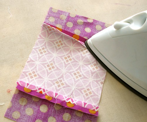 Altered Four Square Quilt Block Tutorial: Pressing the Sewn Middle Pair