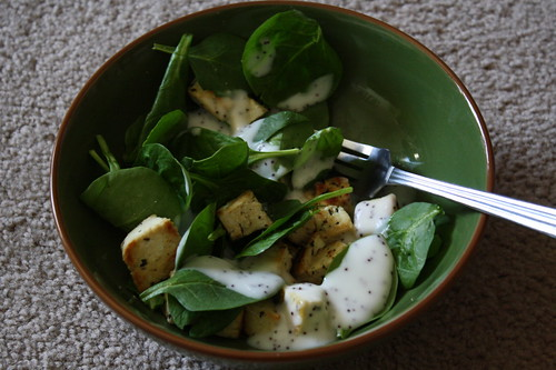 herbed tofu, spinach, poppy dressing