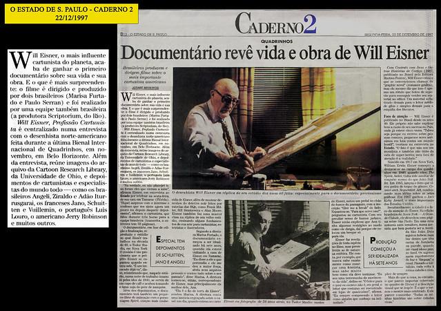 """""""Documentário revê vida e obra de Will Eisner"""" - Estado de São Paulo - 22/12/1997"""