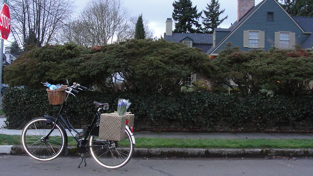 A black and white Dutch bicycle parked on a neighborhood street, with panniers full of flowers and groceries