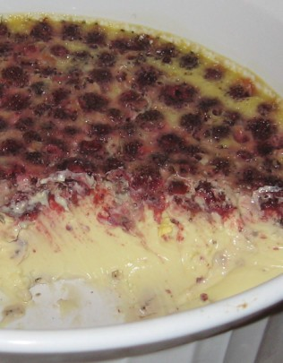 wild strawberry baked egg custard