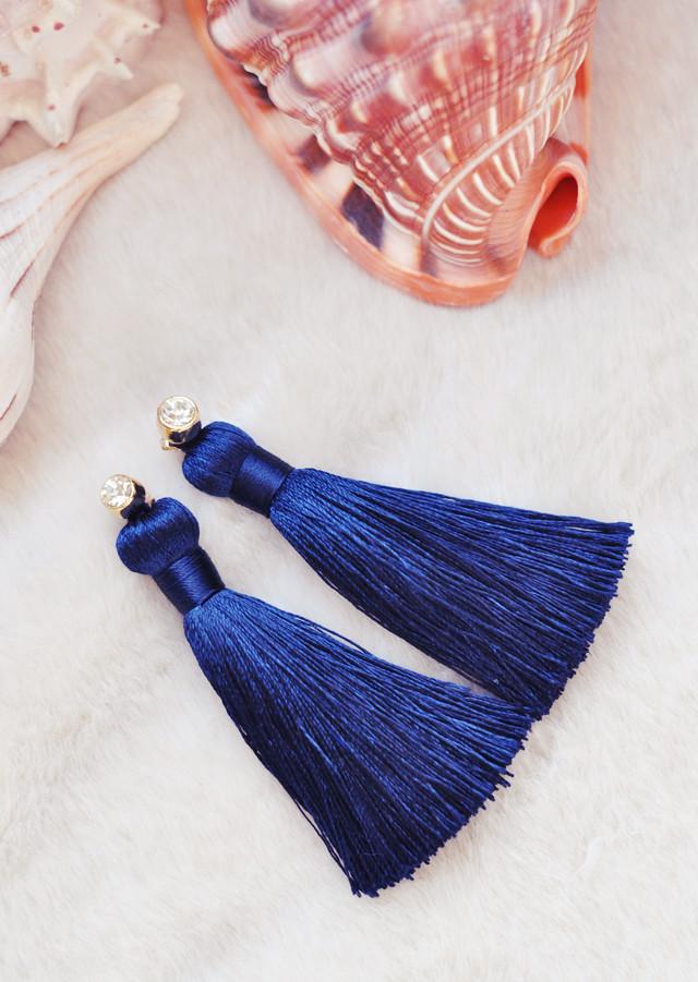 темно-синий кисточкой серьги с бриллиантами